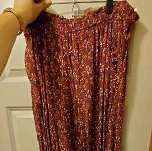Maroon and small flower pant